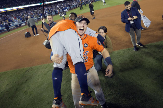 <p>Jose Altuve #27 and Alex Bregman #2 of the Houston Astros celebrate on the field after the Astros defeated the Los Angeles Dodgers in Game 7 of the 2017 World Series at Dodger Stadium on Wednesday, November 1, 2017 in Los Angeles, California. (Photo by Rob Tringali/MLB Photos via Getty Images) </p>