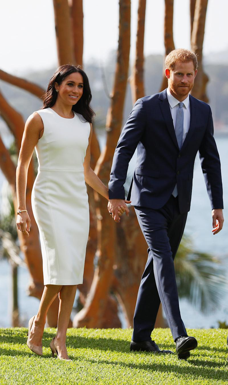 The Duke of Sussex chose a navy Hugo Boss suit to kick-start the royal tour of Australia [Photo: Getty]