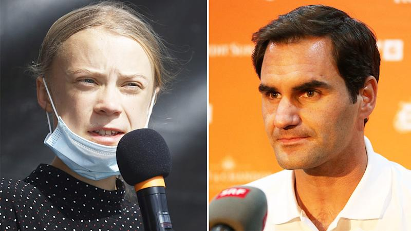 Activist Greta Thunberg (pictured left) speaking at a rally and Roger Federer (pictured right) speaking at a media conference.