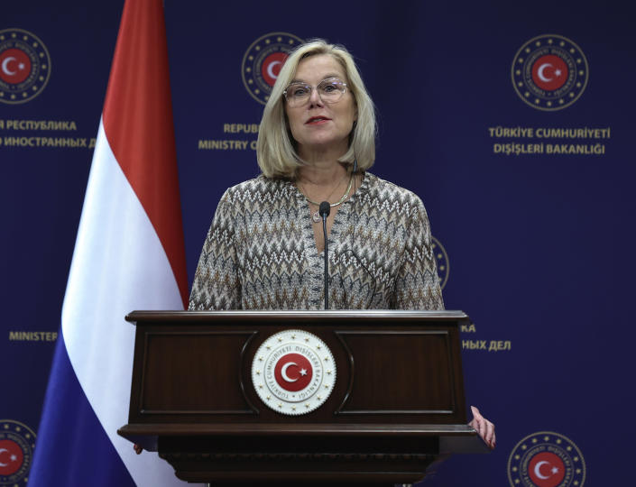 The Netherlands' Foreign Minister Sigrid Kaag speaks to the media during a joint news conference with Turkey's Foreign Minister Mevlut Cavusoglu after their talks, in Ankara, Turkey, Thursday, Sept. 2, 2021. Cavusoglu and Kaag has discussed the latest situation in Afghanistan. Cavusoglu on Thursday outlined possible steps to reopen Kabul's airport following the Taliban's takeover of the facility. (Cem Ozdel/Turkish Foreign Ministry via AP, Pool)