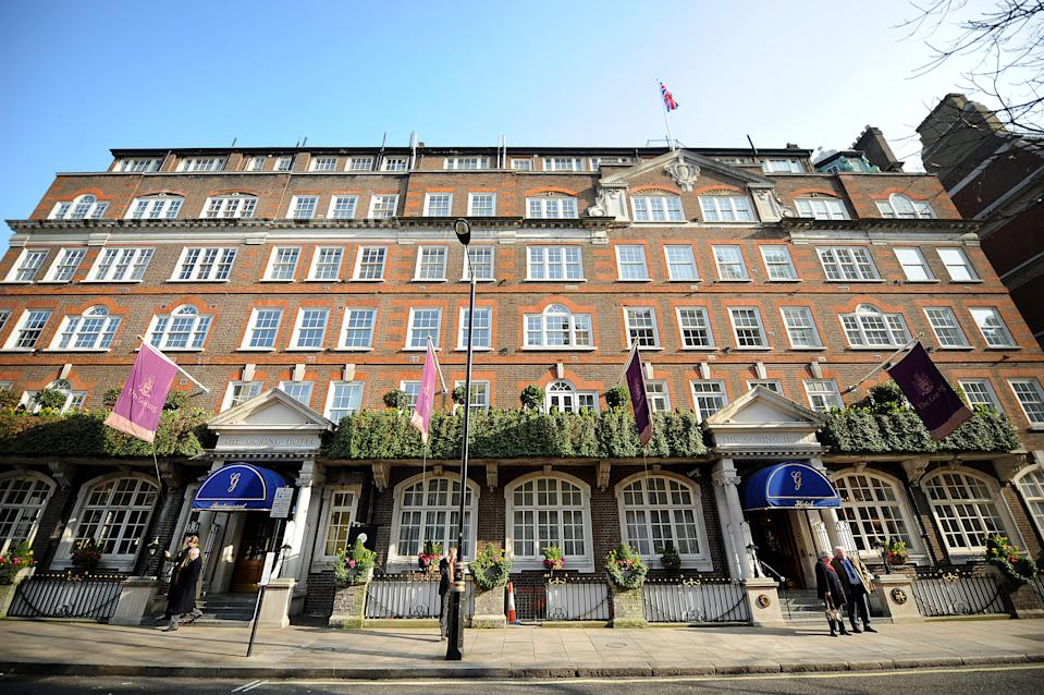 The Goring Hotel, where the fiancee of Britain's Prince William Kate Middleton will spend her last night as a single woman, is pictured in central London, on March 2, 2011. Kate Middleton will spend her last night as a single woman in the royal suite of London luxury Hotel, it was announced on April 15, 2011. Britain's Prince William, the second in line to the throne, will marry his fiancee Kate Middleton at Westminster Abbey on April 29, 2011 in London. The wedding is set to be Britain's biggest royal wedding since William's parents, Prince Charles and Lady Diana Spencer, married in 1981. April 29 has been made a public holiday throughout the kingdom. AFP PHOTO/ BEN STANSALL (Photo credit should read BEN STANSALL/AFP via Getty Images)