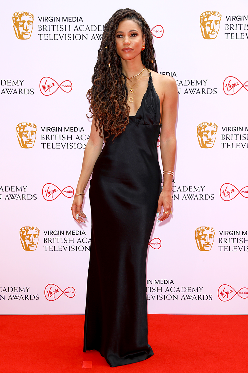 <p>Vick Hope arrives in a slinky slip dress design with delicately layered necklaces.</p>