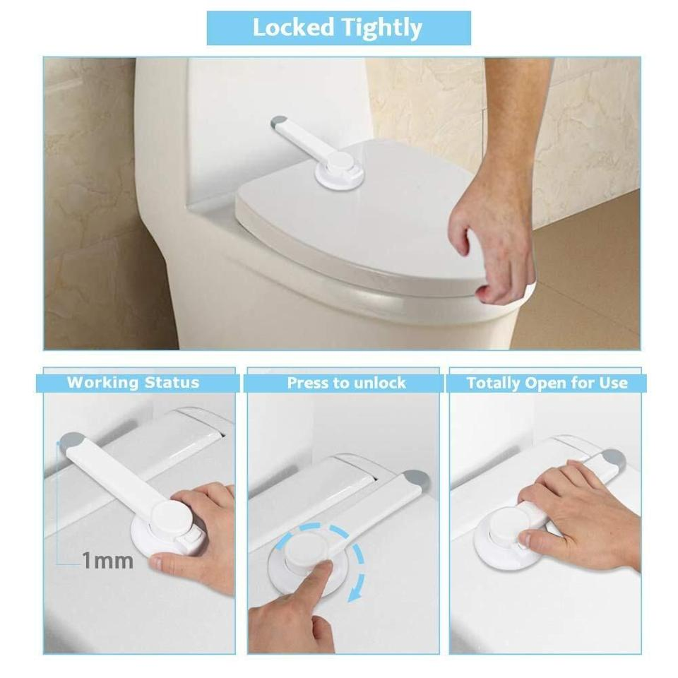 """This is a perfect solution for anyone who has been down in the dumps over their baby discovering the toilet tank and mistaking it for a splash pad.<br /><br /><strong>Promising review:</strong>""""So far, I really like these. My toddler likes to put things in the toilet, so this works perfectly for keeping him out and<strong>isn't a pain to use like some other toilet locks we've tried</strong>."""" —<a href=""""https://www.amazon.com/gp/customer-reviews/R2J6JVBPSSTQND?&linkCode=ll2&tag=huffpost-bfsyndication-20&linkId=aec13e1f89127c588bcfc9c7f7d77166&language=en_US&ref_=as_li_ss_tl"""" target=""""_blank"""" rel=""""nofollow noopener noreferrer"""" data-skimlinks-tracking=""""5750537"""" data-vars-affiliate=""""Amazon"""" data-vars-href=""""https://www.amazon.com/gp/customer-reviews/R2J6JVBPSSTQND?tag=bfmal-20&ascsubtag=5750537%2C19%2C33%2Cmobile_web%2C0%2C0%2C0"""" data-vars-keywords=""""cleaning"""" data-vars-link-id=""""0"""" data-vars-price="""""""" data-vars-retailers=""""Amazon"""">smaldon</a><br /><br /><strong>Get it from Amazon for<a href=""""https://www.amazon.com/Safety-Toliet-Bathroom-Toilet-Installation%E4%B8%A8Easy/dp/B07K76QGH9?&linkCode=ll1&tag=huffpost-bfsyndication-20&linkId=325c2cdaf2d85c9626e629621235b0a8&language=en_US&ref_=as_li_ss_tl"""" target=""""_blank"""" rel=""""nofollow noopener noreferrer"""" data-skimlinks-tracking=""""5750537"""" data-vars-affiliate=""""Amazon"""" data-vars-asin=""""B07K76QGH9"""" data-vars-href=""""https://www.amazon.com/dp/B07K76QGH9?tag=bfmal-20&ascsubtag=5750537%2C19%2C33%2Cmobile_web%2C0%2C0%2C16107185"""" data-vars-keywords=""""cleaning"""" data-vars-link-id=""""16107185"""" data-vars-price="""""""" data-vars-product-id=""""18140914"""" data-vars-product-img=""""https://m.media-amazon.com/images/I/315aEOHyyOL._SL500_.jpg"""" data-vars-product-title=""""Safety Toilet Locks, Bathroom Child Proof Toilet Seat Lock, Swing Shut Toilet Lid Lock for Baby Proof, Quick Installation丨Easy to Use Child Safety Locks for Little Kids"""" data-vars-retailers=""""Amazon"""">$7.99</a>.</strong>"""
