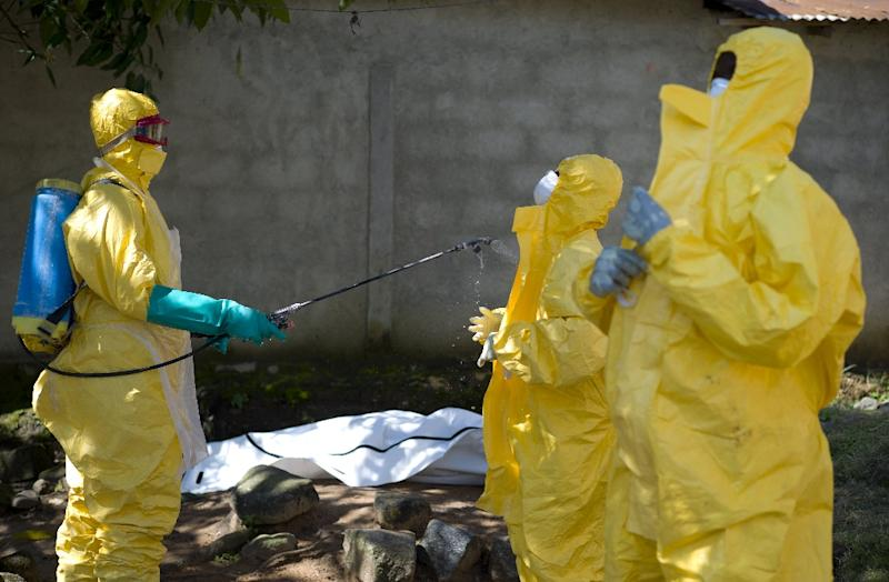 Guinean Red Cross workers prepare to carry the corpse of a victim of Ebola in Macenta on November 21, 2014