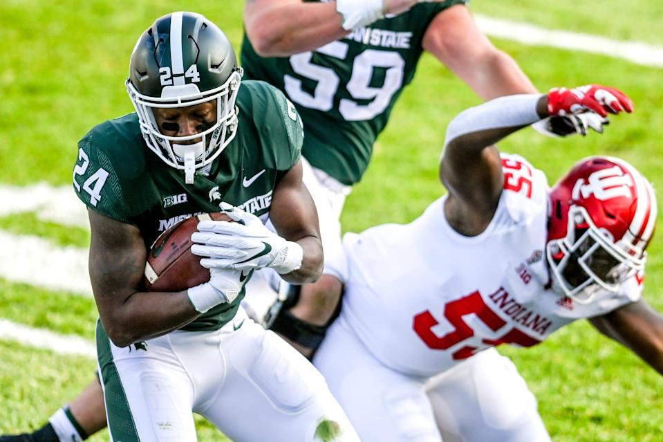 Michigan State's Elijah Collins runs after a catch against Indiana during the third quarter on Saturday, Nov. 14, 2020, at Spartan Stadium in East Lansing.