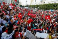 Supporters of Tunisian President Kais Saied rally in Tunis