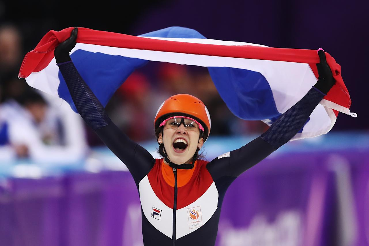 <p>Suzanne Schulting of the Netherlands celebrates winning gold in the Ladies' 1,000m Short Track Speed Skating Final A on day thirteen of the PyeongChang 2018 Winter Olympic Games at Gangneung Ice Arena on February 22, 2018 in Gangneung, South Korea. (Photo by Richard Heathcote/Getty Images) </p>