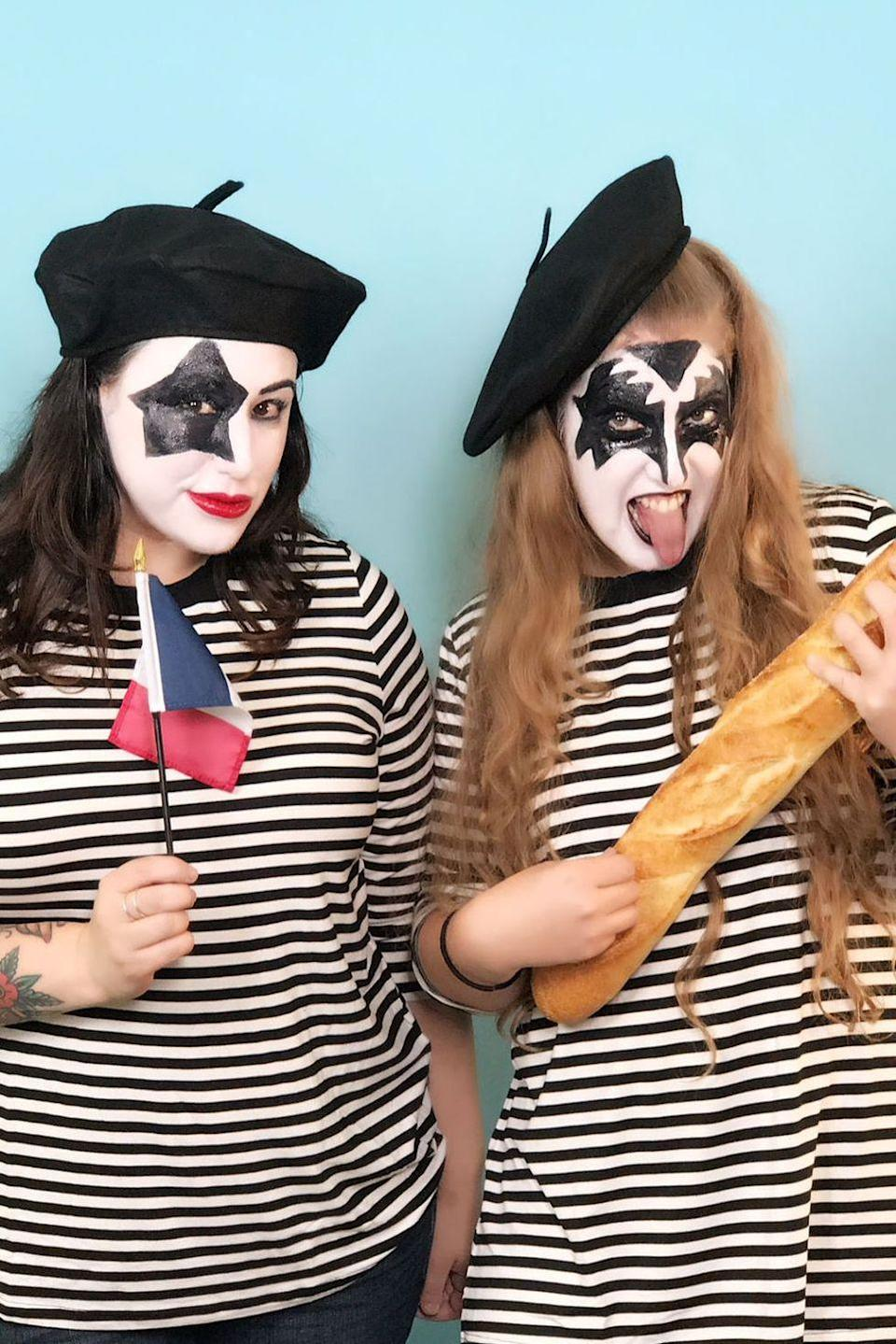 """<p>Anyone with a striped shirt and beret can easy achieve this <a href=""""https://www.countryliving.com/diy-crafts/g22216730/pun-costumes/"""" rel=""""nofollow noopener"""" target=""""_blank"""" data-ylk=""""slk:punny costume idea"""" class=""""link rapid-noclick-resp"""">punny costume idea</a>.</p><p><strong>Get the tutorial at <a href=""""https://www.goodhousekeeping.com/holidays/halloween-ideas/g3848/pun-halloween-costume-ideas/?slide=2"""" rel=""""nofollow noopener"""" target=""""_blank"""" data-ylk=""""slk:Good Housekeeping"""" class=""""link rapid-noclick-resp"""">Good Housekeeping</a>.</strong></p><p><a class=""""link rapid-noclick-resp"""" href=""""https://www.amazon.com/NYFASHION101-French-Lightweight-Casual-Classic/dp/B00MHX5UVW/?tag=syn-yahoo-20&ascsubtag=%5Bartid%7C10050.g.23785711%5Bsrc%7Cyahoo-us"""" rel=""""nofollow noopener"""" target=""""_blank"""" data-ylk=""""slk:SHOP BERETS"""">SHOP BERETS</a> </p>"""