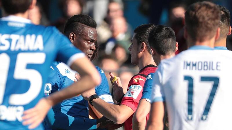 Brescia's Mario Balotelli was at the centre of racist chants during the game with visiting Lazio