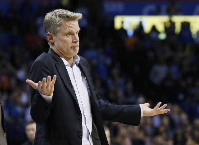 Warriors coach Steve Kerr is getting his jabs in against President Donald Trump at every opportunity. (AP)