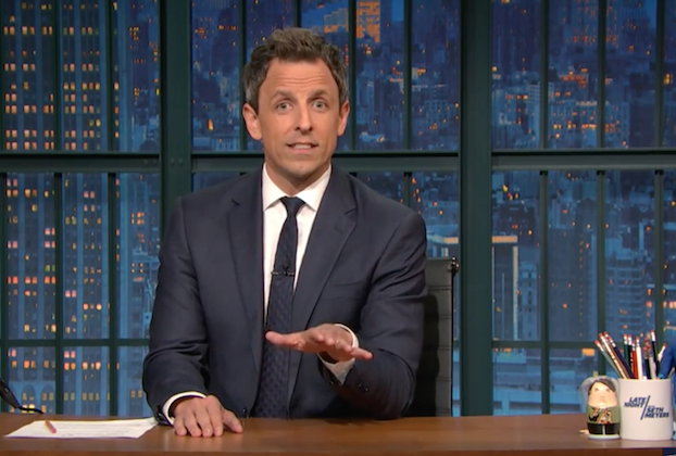 Late-night hosts mark Trump's election with jokes, therapy