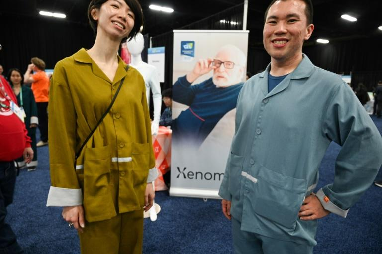 Smart pajamas from Japan-based startup Xenoma can be used to discreetly monitor the health vitals of seniors (AFP Photo/Robyn Beck)