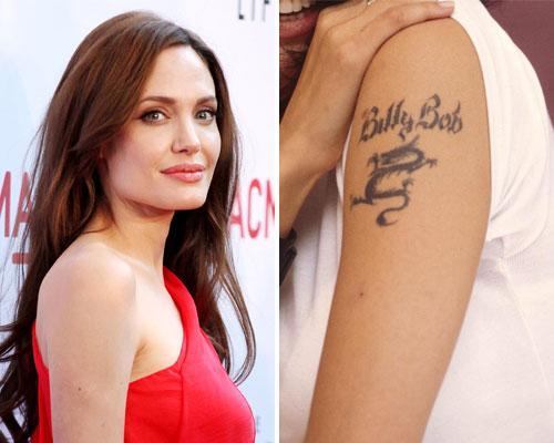 "Angelina Jolie has some serious love for tattoos; she has had a dozen tattoos over the years but not all have lasted. Angelina decided to either remove or cover six, one of which was an Asian dragon with her ex-husbands name – Billy Bob – inscribed above it. At the time of the tattoo removal procedure she said: ""I'll never be stupid enough to have a man's name tattooed on me again."""