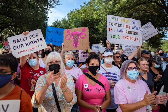 Demonstrators rally against anti-abortion and voter suppression laws at the Texas State Capitol on October 2, 2021 in Austin, Texas.
