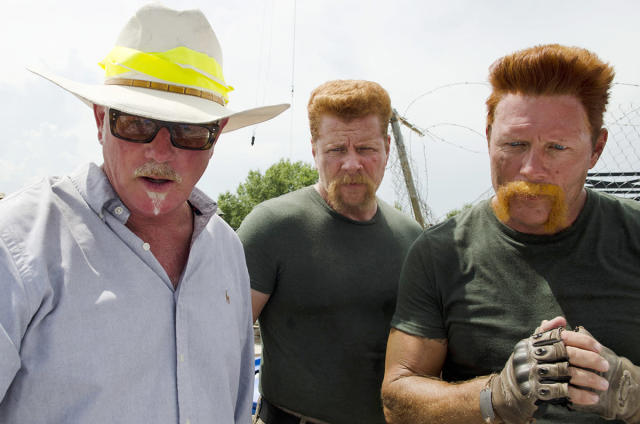 <p>Director Jeff January gives double the notes for the two Abrahams: <i>TWD</i> star Michael Cudlitz and his stunt double, Christopher Parker.<br><br>(Photo: AMC) </p>