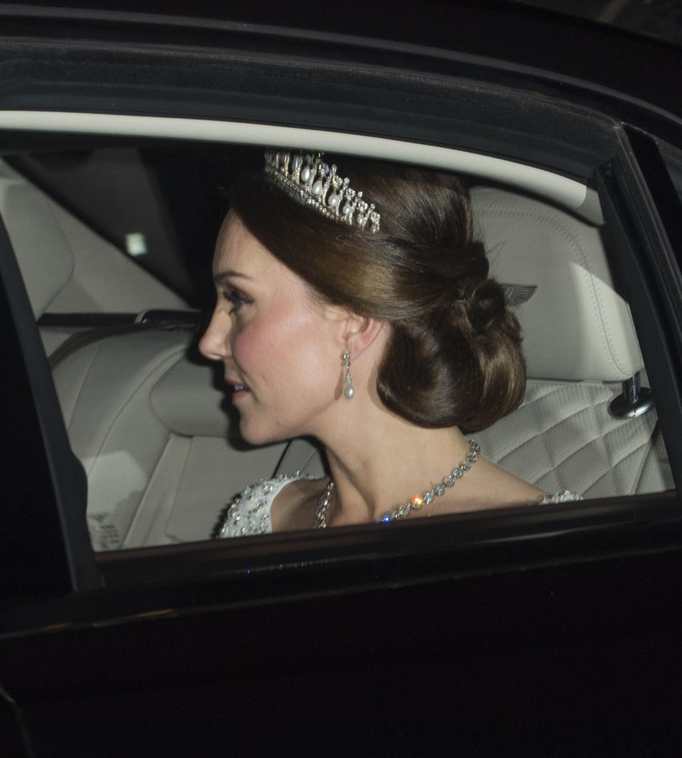 Kate (who was then pregnant with Prince Louis) wore the Cambridge Lover's Knot tiara for a fourth time at the Diplomatic Reception in December 2017, with a bespoke embellished Jenny Packham gown (Getty)