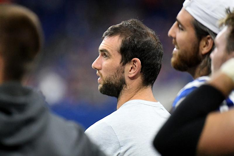 INDIANAPOLIS, IN - AUGUST 24: Andrew Luck #12 of the Indianapolis Colts watches from the sidelines during the fourth quarter of the preseason game against the Chicago Bears at Lucas Oil Stadium on August 24, 2019 in Indianapolis, Indiana. (Photo by Bobby Ellis/Getty Images)