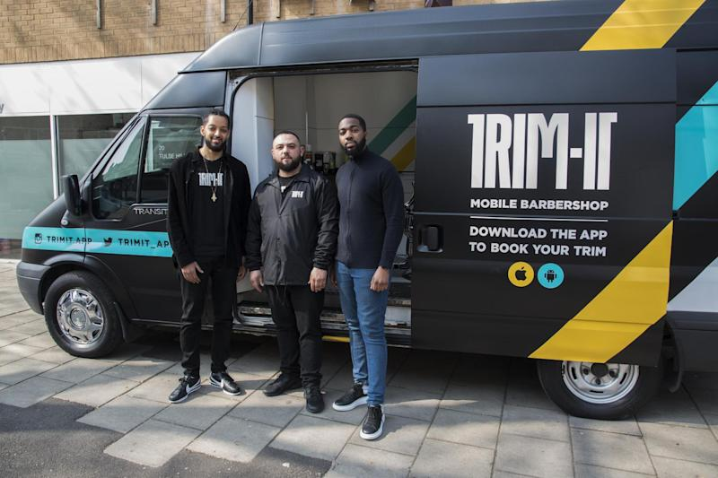 TRIM-IT: (left to right) co-founder Nathan Maalo, barber Dee Dervish and co-founder Nana Darko ()