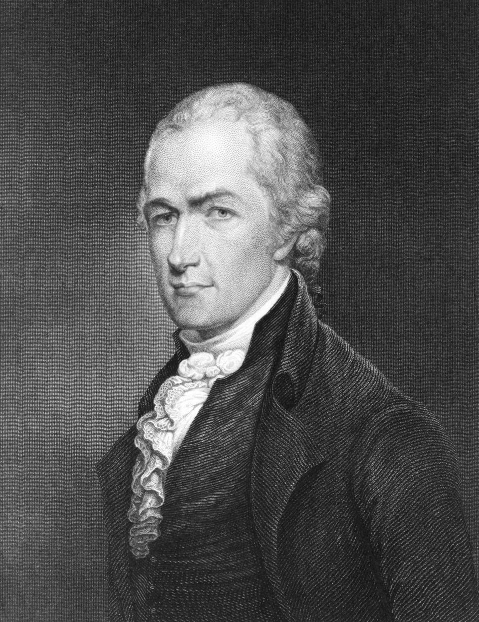 """Alexander Hamilton (1755-1804) on an engraving from 1835 by E. Prudhomme and published in ''National Portrait Gallery of Distinguished Americans Volume II'"""" USA,1835. (Getty Images)"""