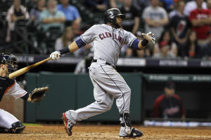 Carlos Santana can get around on a fastball. (USA TODAY Sports)