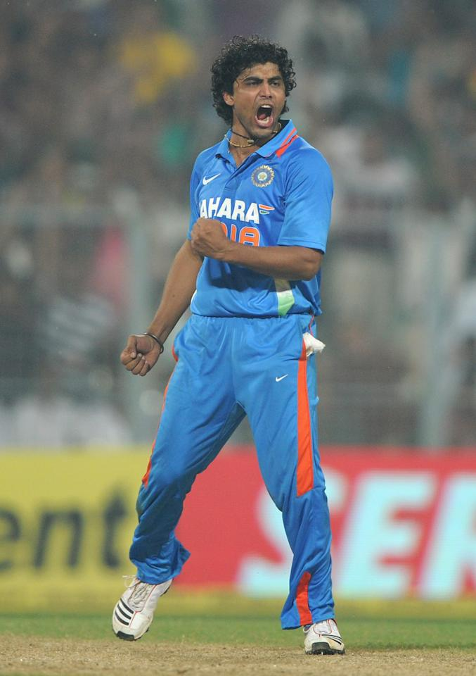 KOLKATA, INDIA - OCTOBER 25:  Ravindra Jadeja of India celebrates dismissing Craig Kieswetter of England during the 5th One Day International between India and England at Eden Gardens on October 25, 2011 in Kolkata, India.  (Photo by Gareth Copley/Getty Images)