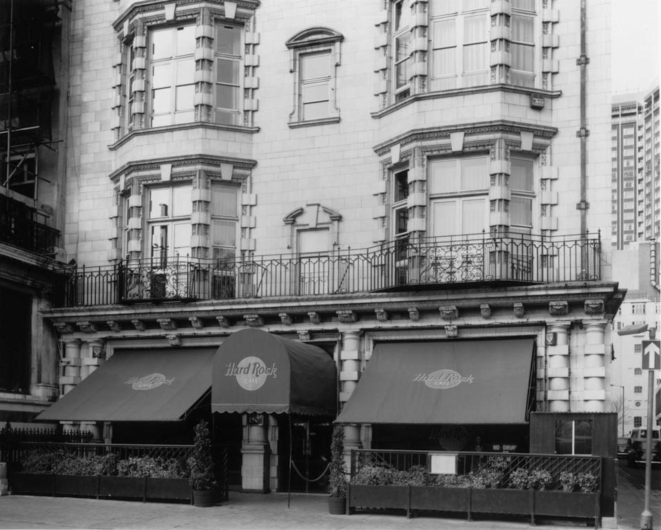 <p>How very chic! The original Hard Rock Cafe opened in London's Mayfair neighborhood in June 1971. The rock and roll memorabilia decor didn't come along for another few years. </p>