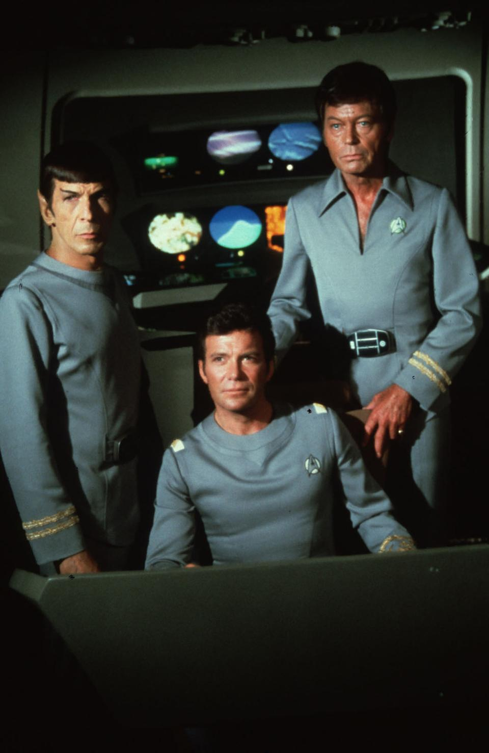 """""""Star Trek: The Motion Picture"""" (1979) Leonard Nimoy, William Shatner, And Deforest Kelley Photo Credit: Paramount Pictures/Shooting Star *** Please Use Credit from Credit Field ***"""