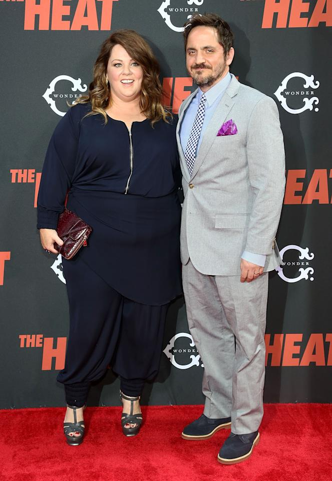 "NEW YORK, NY - JUNE 23: (L-R) Melissa McCarthy and Ben Falcone attend ""The Heat"" New York Premiere at Ziegfeld Theatre on June 23, 2013 in New York City. (Photo by Astrid Stawiarz/Getty Images)"