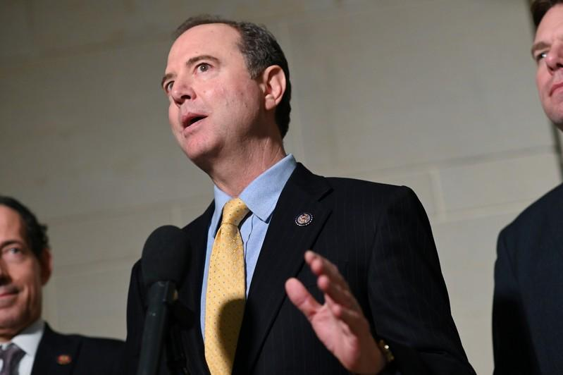 U.S. House Intelligence Committee Chair Schiff speaks to reporters during a break in a closed-door impeachment inquiry into U.S. President Trump on Capitol Hill in Washington