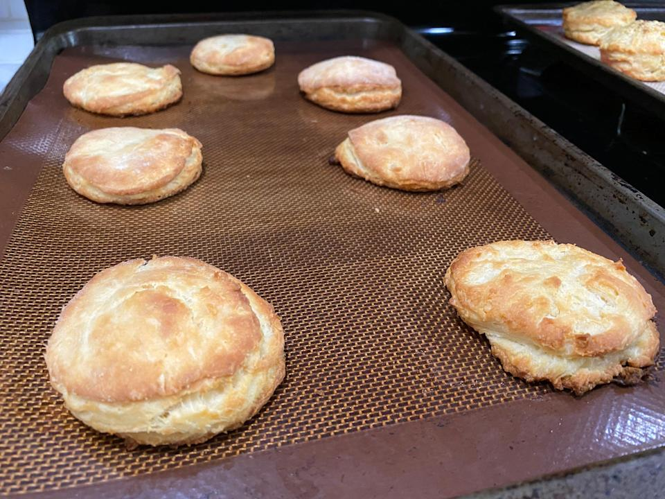 Carla Hall process out of the oven