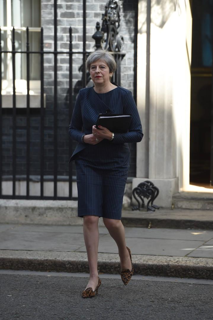 To announce a snap election, May chose a pinstripe co-ord by Daniel Blake [Photo: Getty]