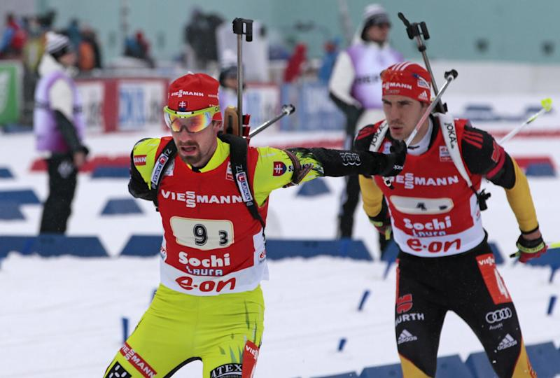 Slovakian member of relay team Miroslav Matiasko competes during the men's 4x7,5 km Relay at the Laura biathlon stadium in the Olympic mountain cluster during the IBU World Cup Biathlon in Sochi, Russia, Sunday, March 10, 2013. (AP Photo/Mikhail Metzel)
