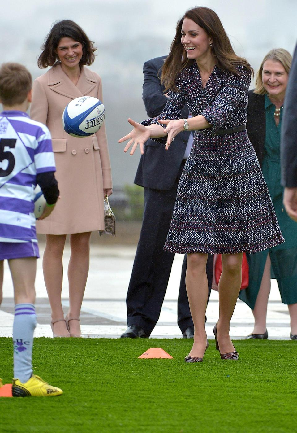 <p>PARIS, FRANCE - MARCH 18: Prince William, Duke of Cambridge and Catherine, Duchess of Cambridge meet with members of a rugby team near the Eiffel Tower on March 18, 2017 in Paris, France. The Duke and Duchess are on a two day tour of France. (Photo by Dominique Charriau/WireImage)</p>