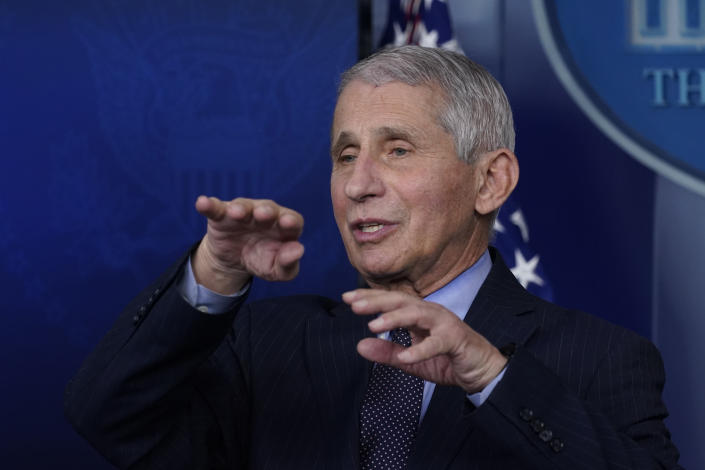 """FILE - In this Jan. 21, 2021 file photo, Dr. Anthony Fauci, director of the National Institute of Allergy and Infectious Diseases, speaks with reporters at the White House, in Washington. Fauci won a $1 million award from the Israeli Dan David Foundation for """"courageously defending science"""" during the coronavirus pandemic. On Monday, Feb. 15, 2021, the foundation named Fauci, President Joe Biden's chief medical advisor, as the winner of one of three prizes, saying he had earned it over a lifetime of leadership on HIV research and AIDS relief, as well as his advocacy for the vaccines against COVID-19. (AP Photo/Alex Brandon, File)"""