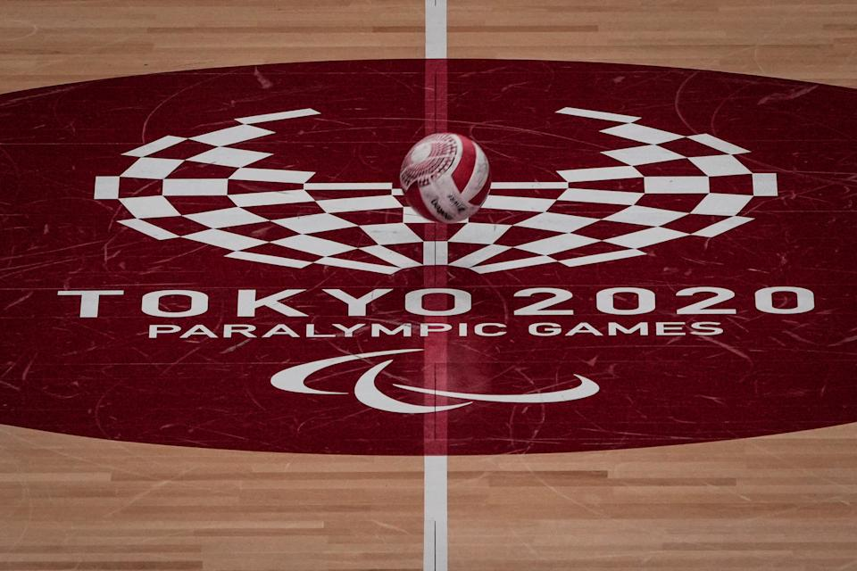 A wheelchair rugby ball is seen during a training session between Denmark and Britain at Yoyogi National Stadium in Tokyo ahead of the Tokyo 2020 Paralympic Games on August 22, 2021. (Photo by Yasuyoshi CHIBA / AFP) (Photo by YASUYOSHI CHIBA/AFP via Getty Images)