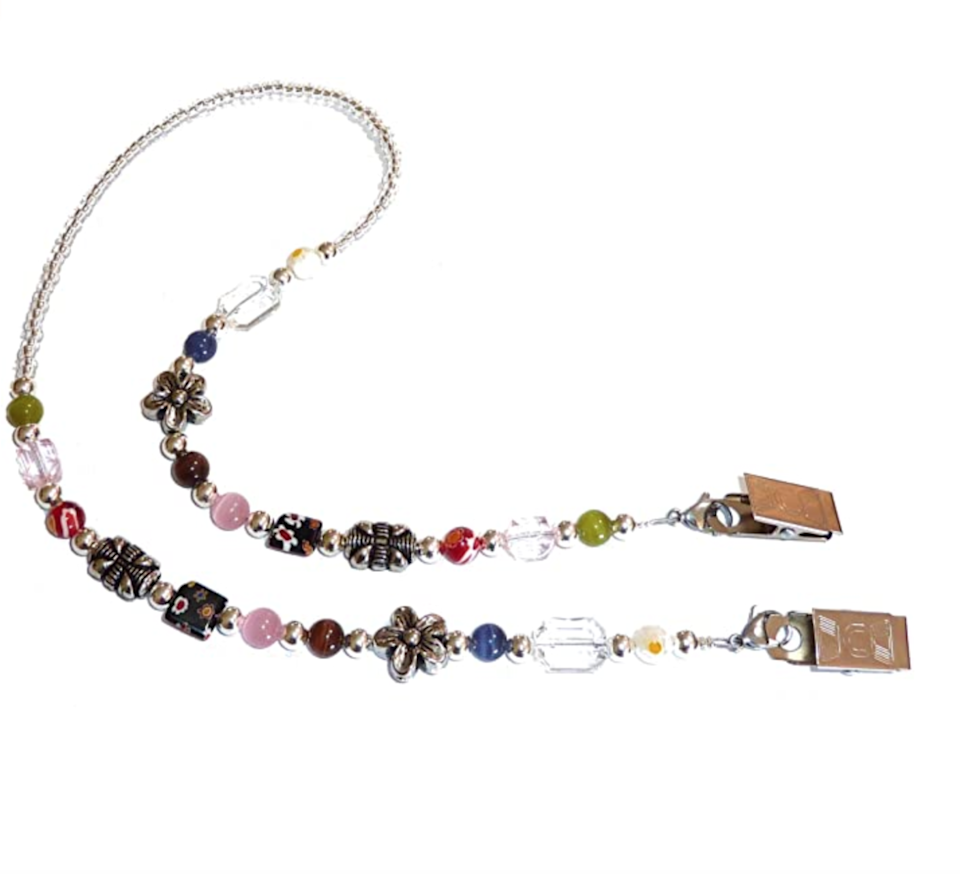 """<br><br><strong>Hidden Hollow Beads</strong> Face Mask Holder Beaded Necklace Strap, $, available at <a href=""""https://amzn.to/32xZUYd"""" rel=""""nofollow noopener"""" target=""""_blank"""" data-ylk=""""slk:Amazon"""" class=""""link rapid-noclick-resp"""">Amazon</a>"""