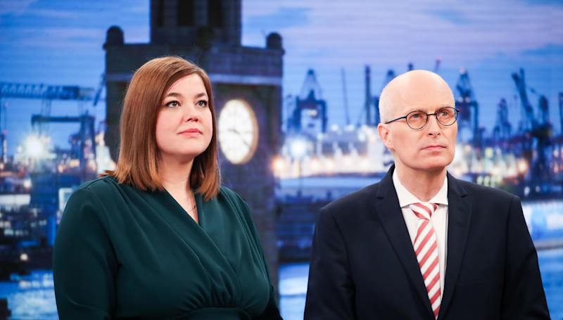 23 February 2020, Hamburg: The Green Party's top candidate Katharina Fegebank and the SPD's top candidate and First Mayor Peter Tschentscher stand side by side during a TV round. Around 1.32 million people were called upon to elect a new citizenship. Photo: Christian Charisius/dpa (Photo by Christian Charisius/picture alliance via Getty Images)