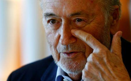 Former FIFA President Blatter gestures during an interview in Zurich