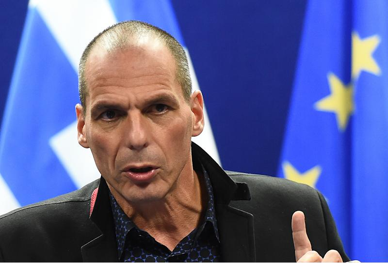 Greek Finance Minister, Yanis Varoufakis, pictured during a press conference in Brussels, on February 16, 2015