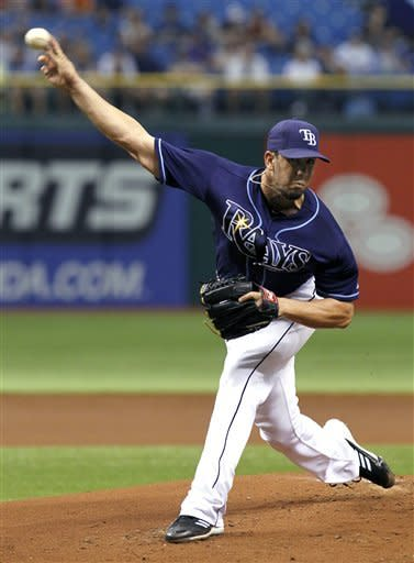 Tampa Bay Rays starting pitcher James Shields delivers in the first inning to the Toronto Blue Jays during a baseball game Wednesday, May 23, 2012, in St. Petersburg, Fla. (AP Photo/Chris O'Meara)