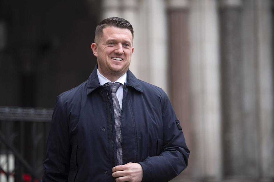 Tommy Robinson leaving the Royal Courts of Justice earlier in the case (PA) (PA Wire)