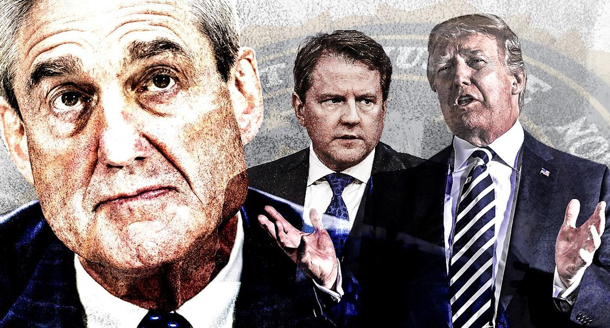 Robert Mueller, Don McGahn and Donald Trump. (Yahoo News photo illustration; photos: AP, Getty Images)