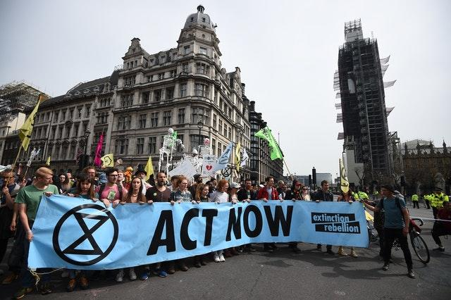 Extinction Rebellion protesters at Parliament Square