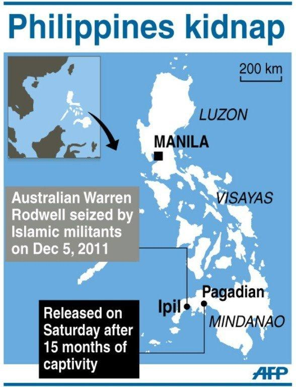Graphic showing Pagadian city, in southern Philippines, where kidnapped Australian Warren Rodwell was released on Saturday by Islamic militants after holding him hostage for 15 months