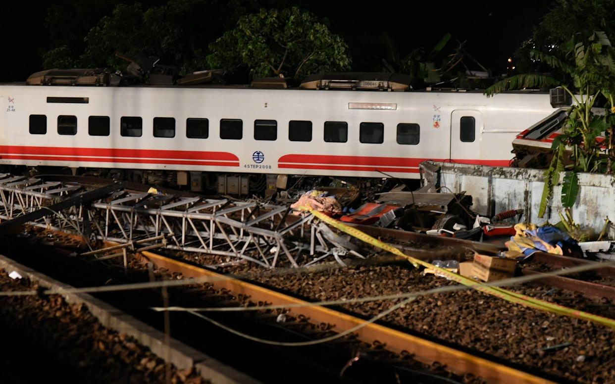 A train derailed and flipped in Yilan, Taiwan - REUTERS
