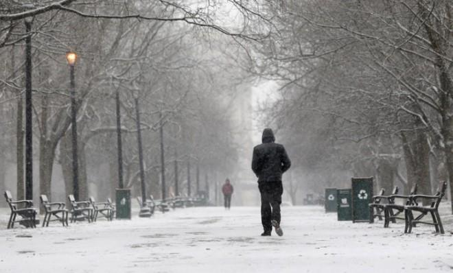A pedestrian strolls through an Albany, N.Y., park Friday morning as the modest beginnings of winter storm Nemo descend on the Northeast.