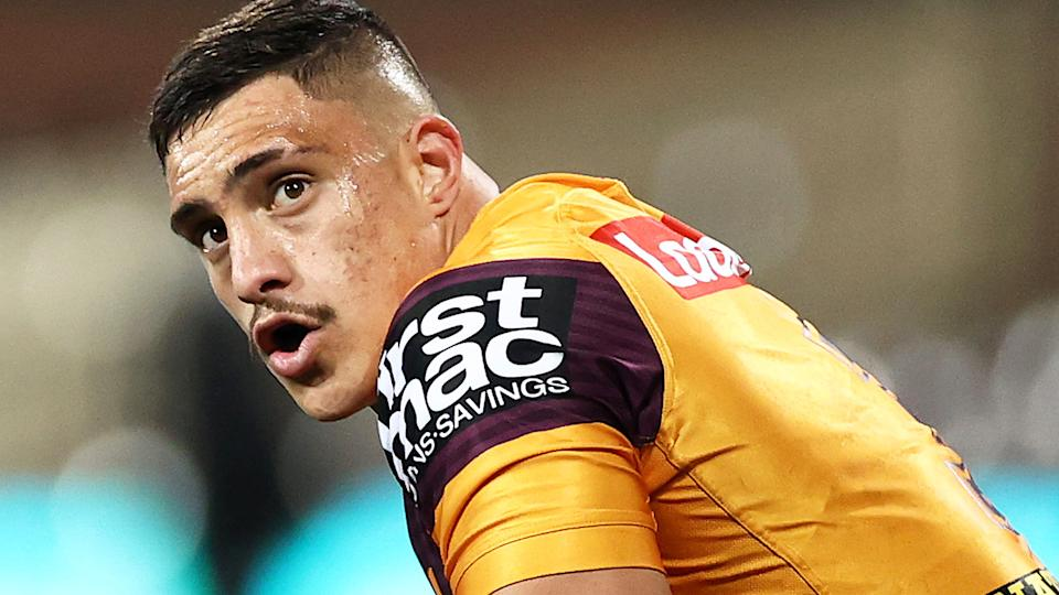 Brisbane Broncos centre Kotoni Staggs' off-field behaviour has become a concern for league boss Andrew Abdo. (Photo by Cameron Spencer/Getty Images)