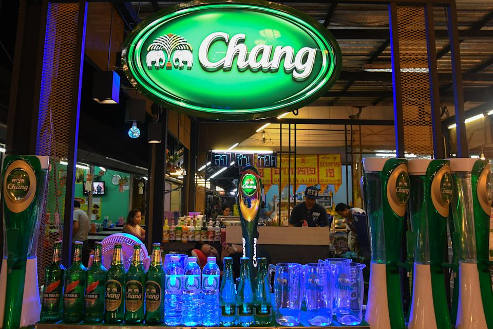 A view of a stand with Chang beer for sale in a local night market in Chiang Mai.  On Wednesday, June 13, 2018, in Chiang Mai, Thailand. (Photo by Artur Widak/NurPhoto via Getty Images)