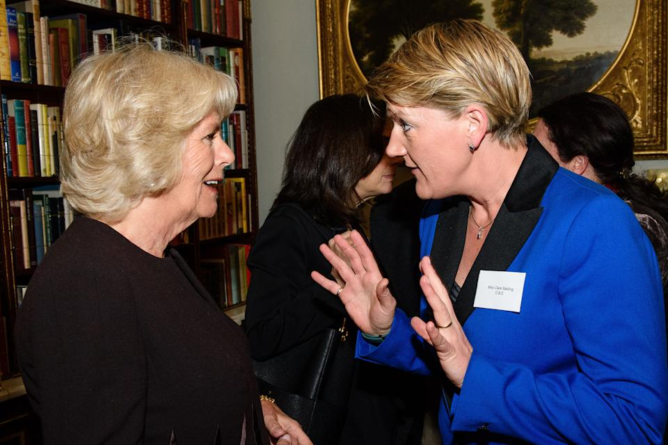 The Duchess of Cornwall (left), President of WOW - the Women of the World Festival, speaks with TV presenter Clare Balding at a reception at Clarence House, London.