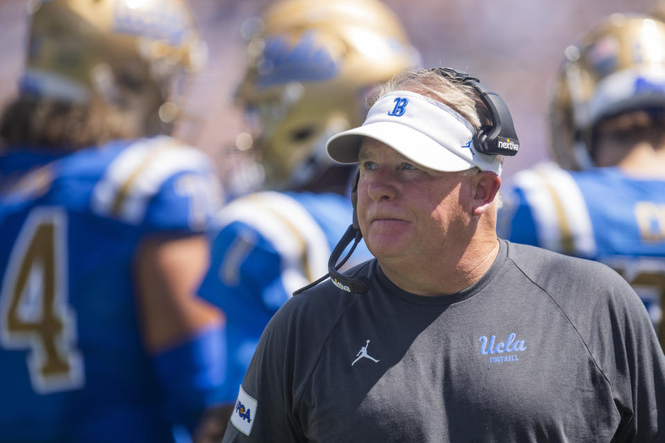 UCLA head coach Chip Kelly during an NCAA football game against Hawaii on Saturday, Aug. 28, 2021, in Los Angeles. (AP Photo/Kyusung Gong)